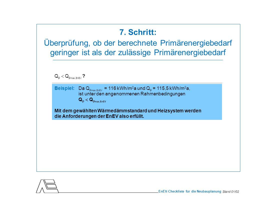 7. Schritt: Überprüfung, ob der berechnete Primärenergiebedarf geringer ist als der zulässige Primärenergiebedarf.