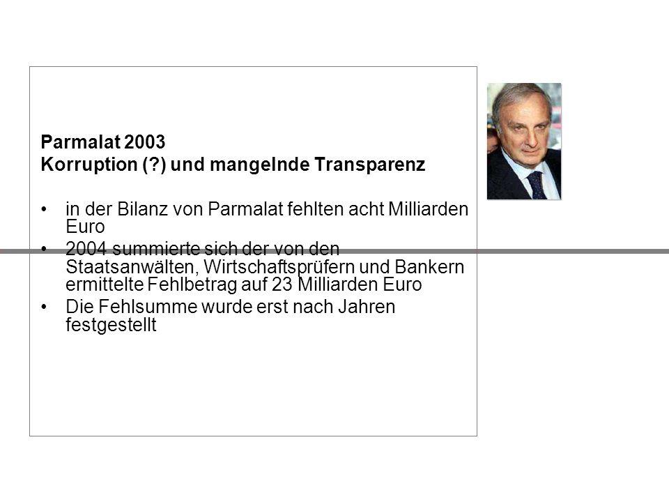 Parmalat 2003 Korruption ( ) und mangelnde Transparenz. in der Bilanz von Parmalat fehlten acht Milliarden Euro.