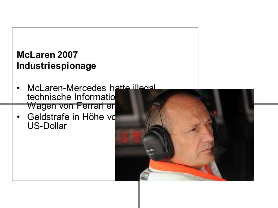McLaren 2007 Industriespionage. McLaren-Mercedes hatte illegal technische Informationen über die Wagen von Ferrari erhalten.