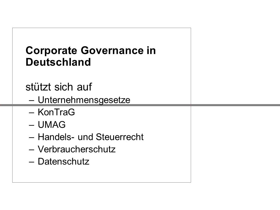 Corporate Governance in Deutschland