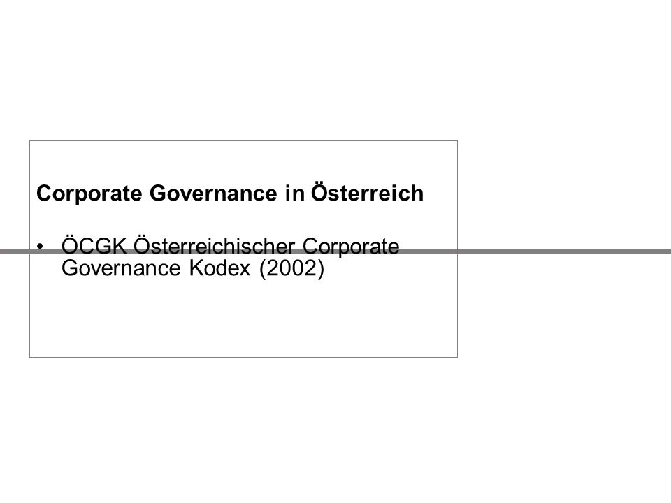 Corporate Governance in Österreich