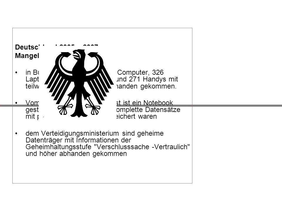 Deutschland 2005 – 2007 Mangelhafte Sicherheit.