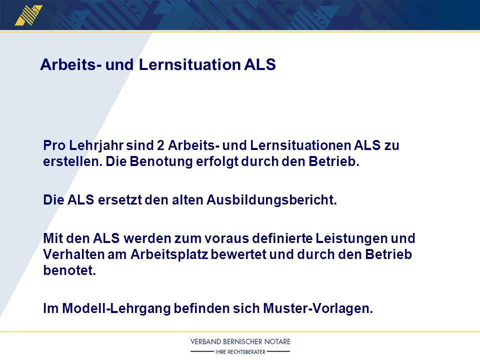 Arbeits- und Lernsituation ALS