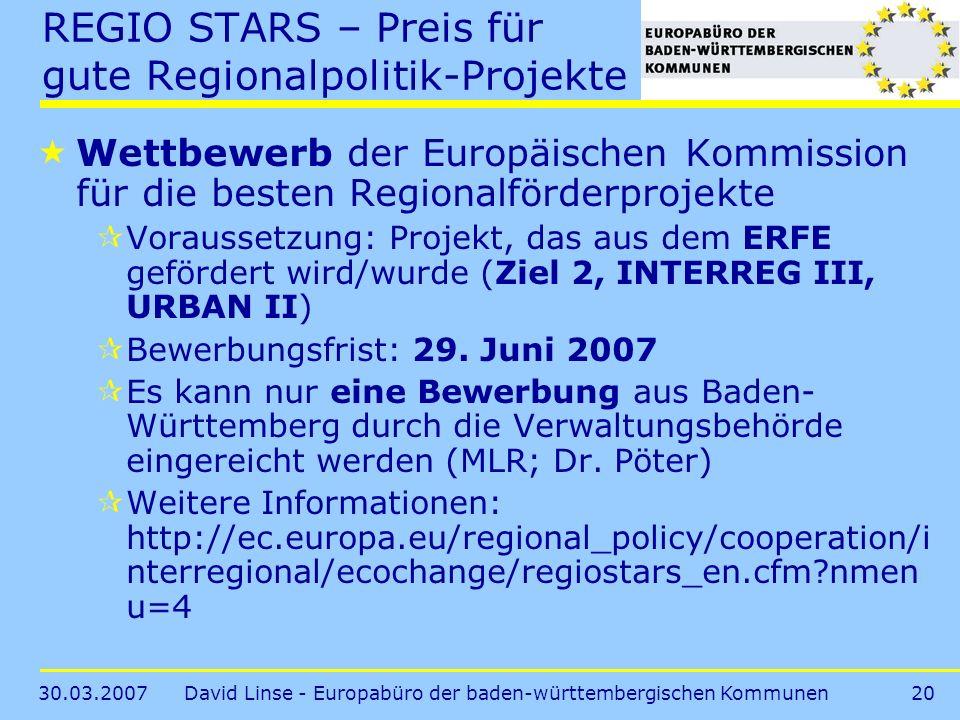REGIO STARS – Preis für gute Regionalpolitik-Projekte