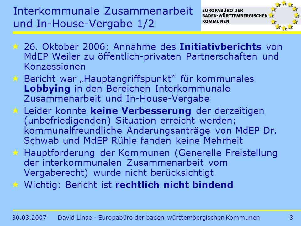 Interkommunale Zusammenarbeit und In-House-Vergabe 1/2