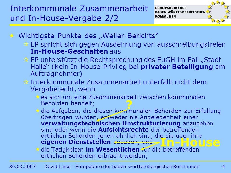 Interkommunale Zusammenarbeit und In-House-Vergabe 2/2