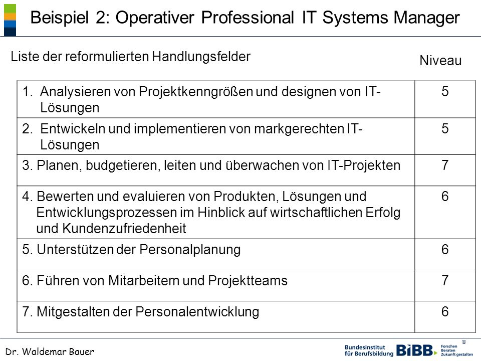 Beispiel 2: Operativer Professional IT Systems Manager