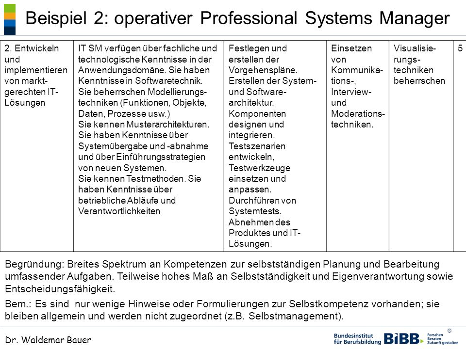 Beispiel 2: operativer Professional Systems Manager