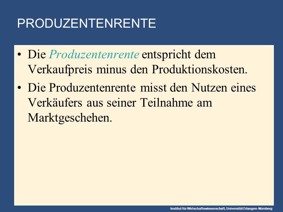 PRODUZENTENRENTE Die Produzentenrente entspricht dem Verkaufpreis minus den Produktionskosten.