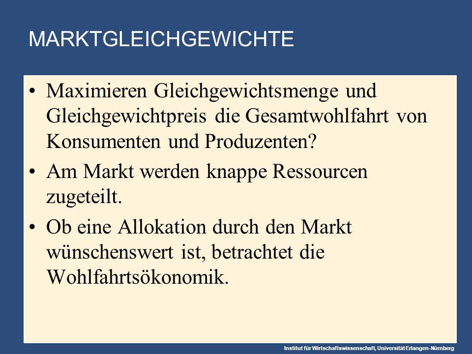 MARKTGLEICHGEWICHTE Maximieren Gleichgewichtsmenge und Gleichgewichtpreis die Gesamtwohlfahrt von Konsumenten und Produzenten