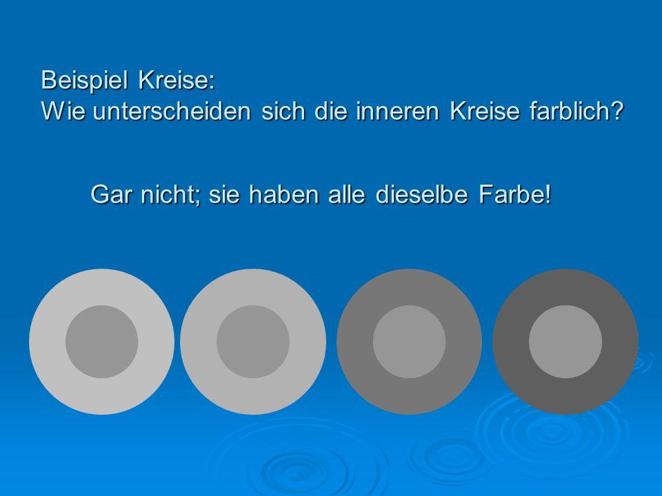 Beispiel Kreise: Wie unterscheiden sich die inneren Kreise farblich