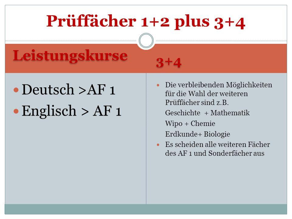 Prüffächer 1+2 plus 3+4 Leistungskurse Deutsch >AF 1