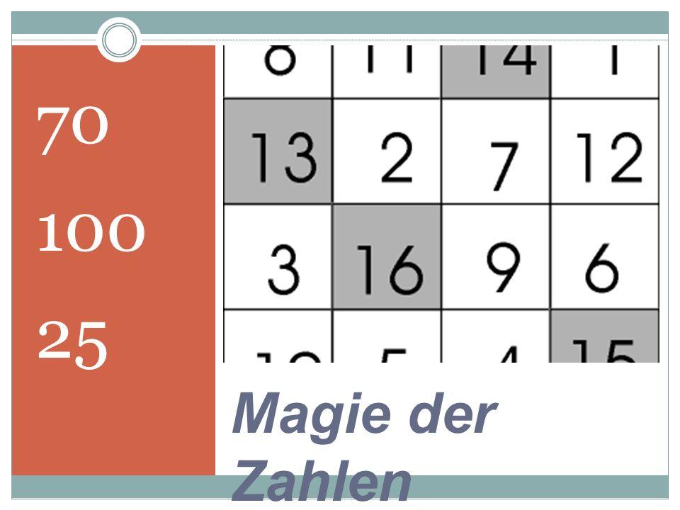 70 100 25 Magie der Zahlen