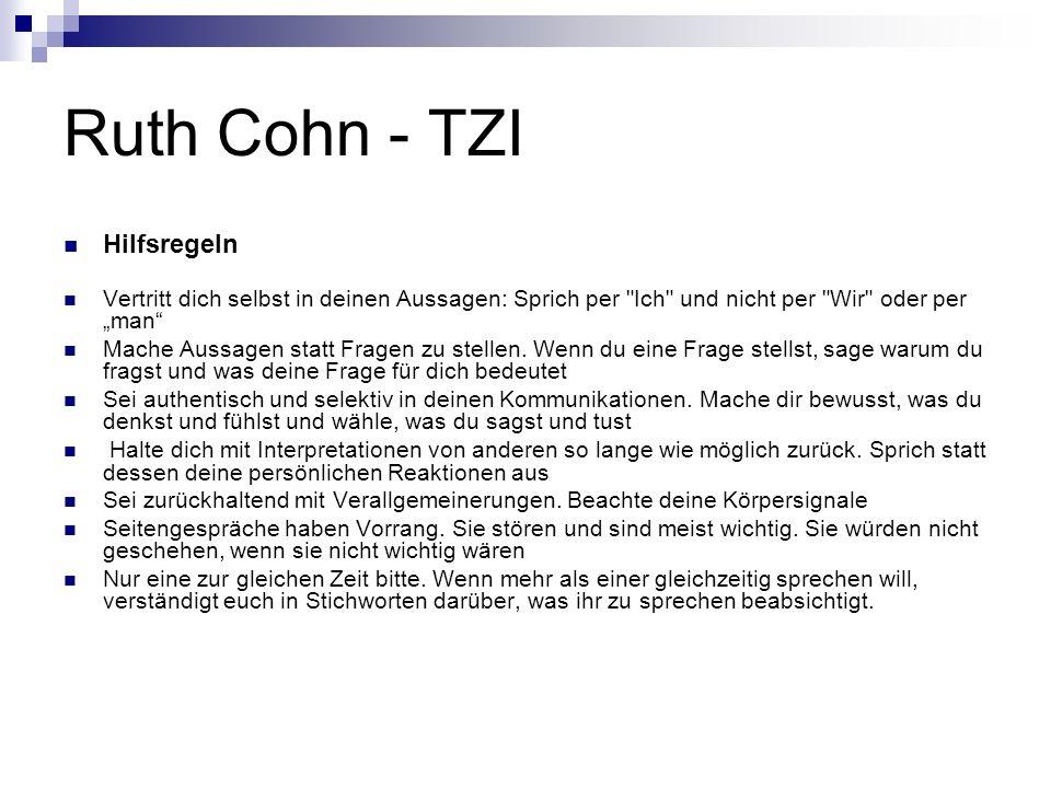 Ruth Cohn - TZI Hilfsregeln