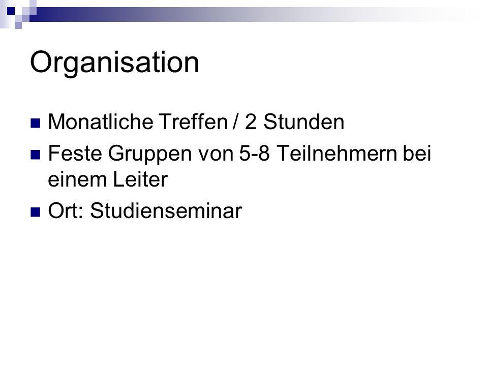 Organisation Monatliche Treffen / 2 Stunden