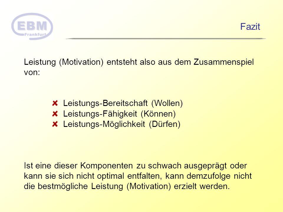 Fazit Leistung (Motivation) entsteht also aus dem Zusammenspiel von: