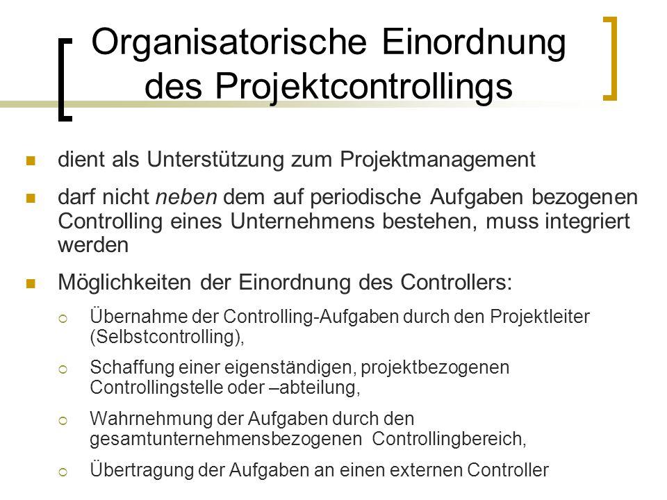 Organisatorische Einordnung des Projektcontrollings