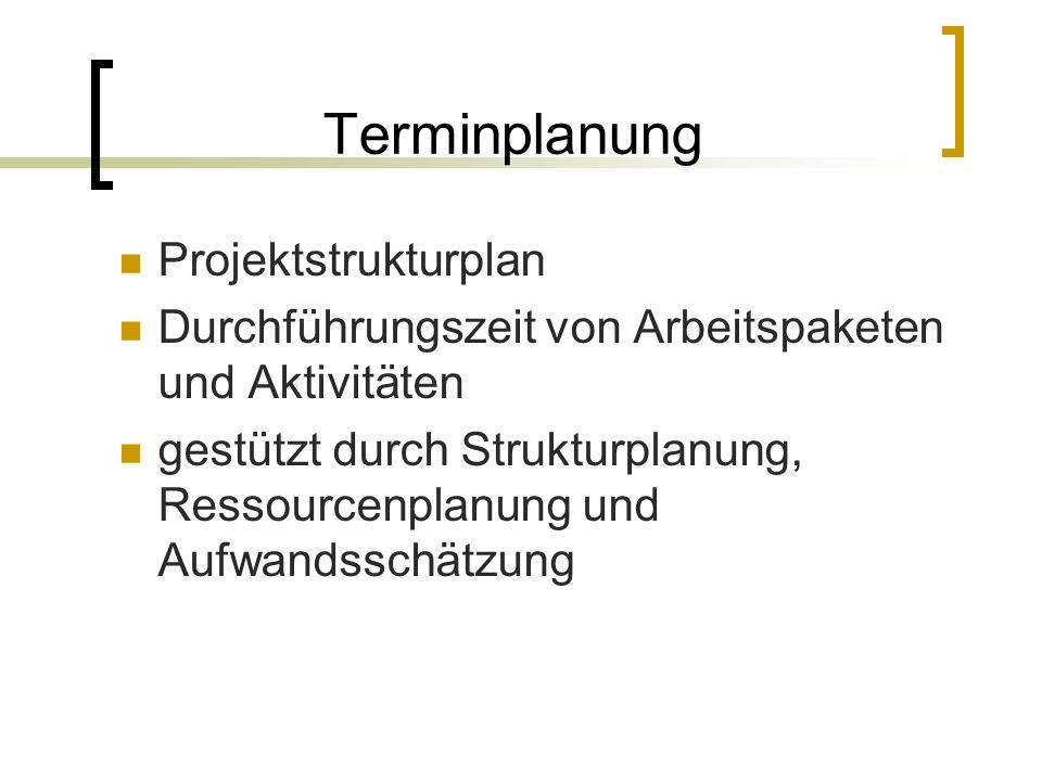 Terminplanung Projektstrukturplan