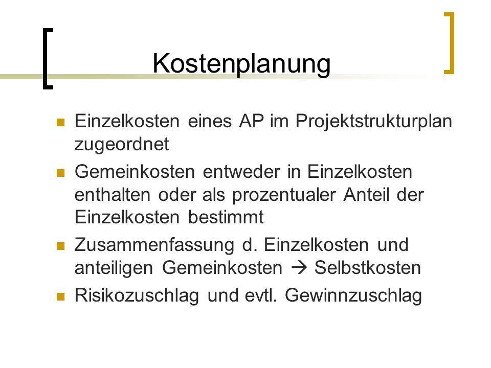 Kostenplanung Einzelkosten eines AP im Projektstrukturplan zugeordnet