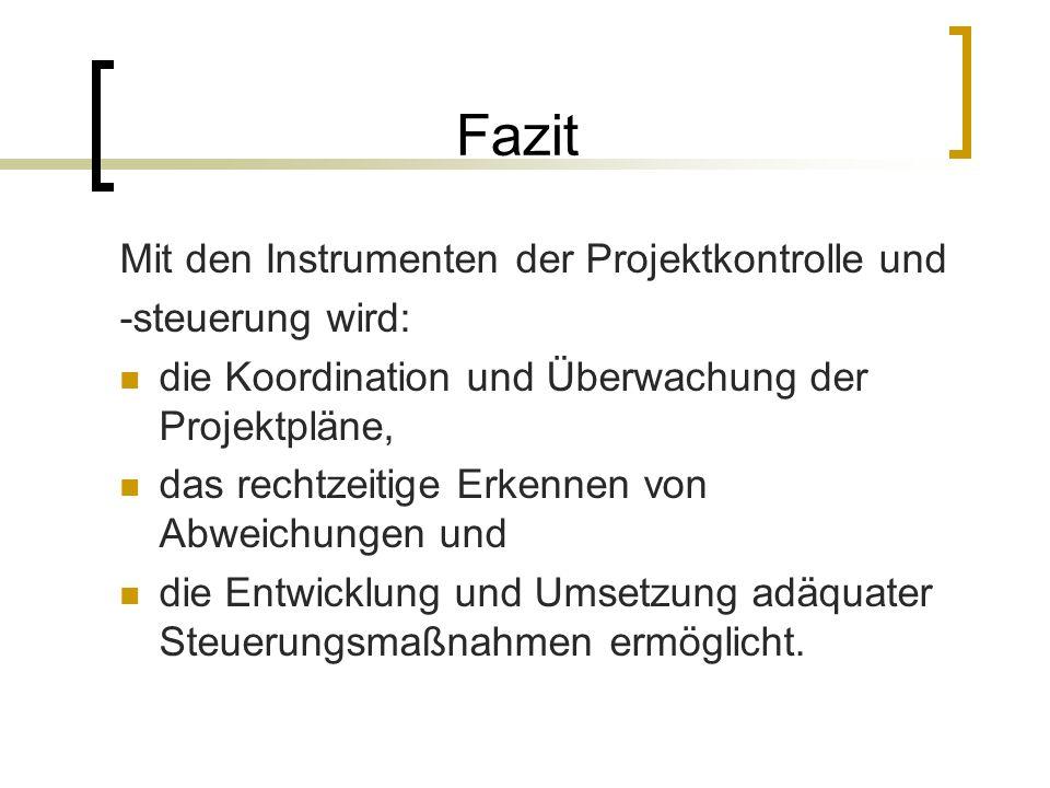 Fazit Mit den Instrumenten der Projektkontrolle und -steuerung wird: