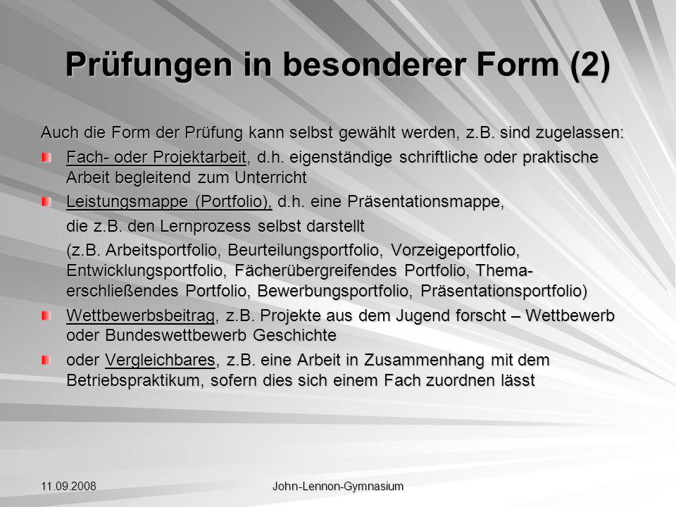 Prüfungen in besonderer Form (2)