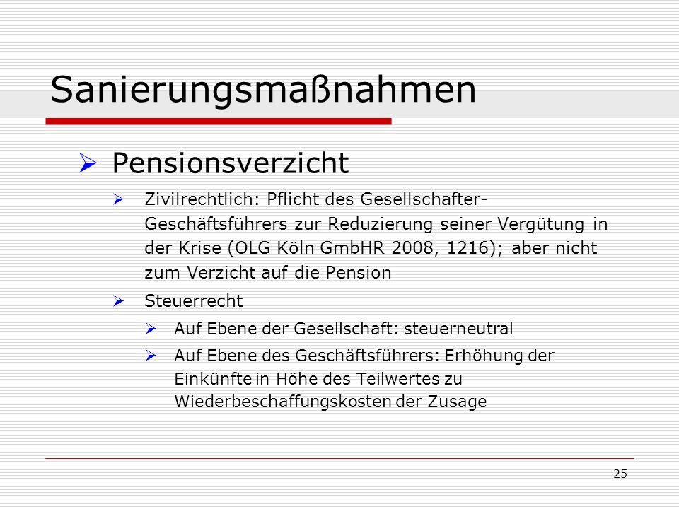 Sanierungsmaßnahmen Pensionsverzicht