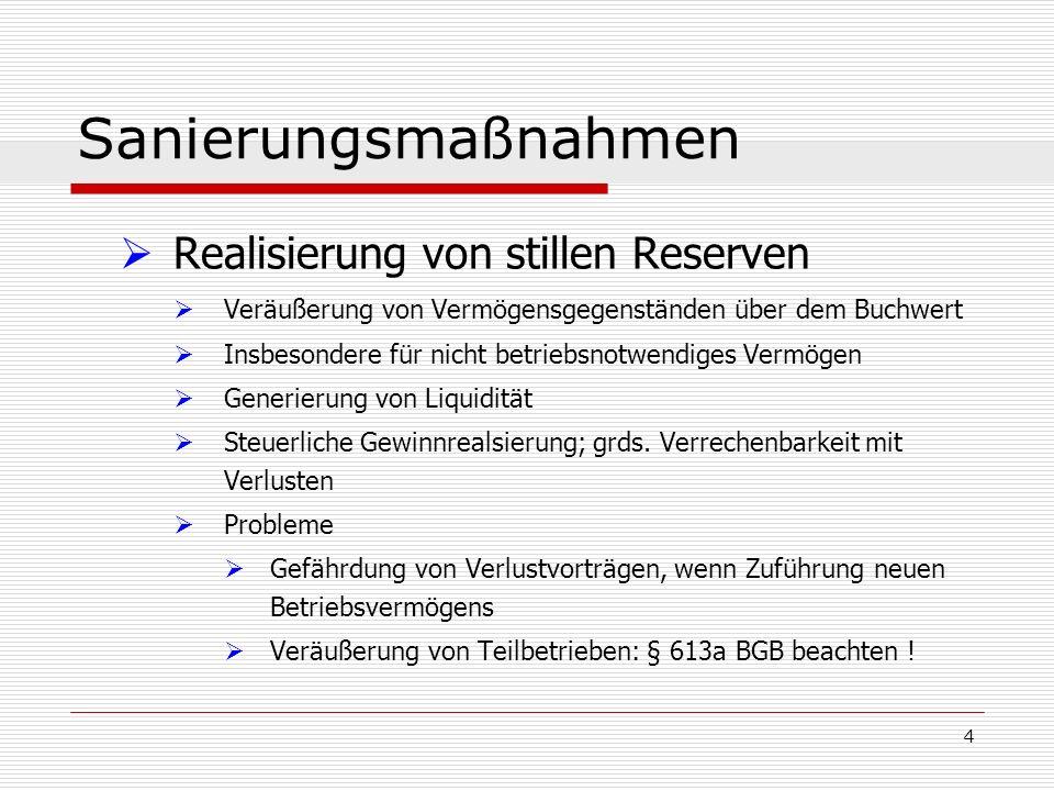 Sanierungsmaßnahmen Realisierung von stillen Reserven