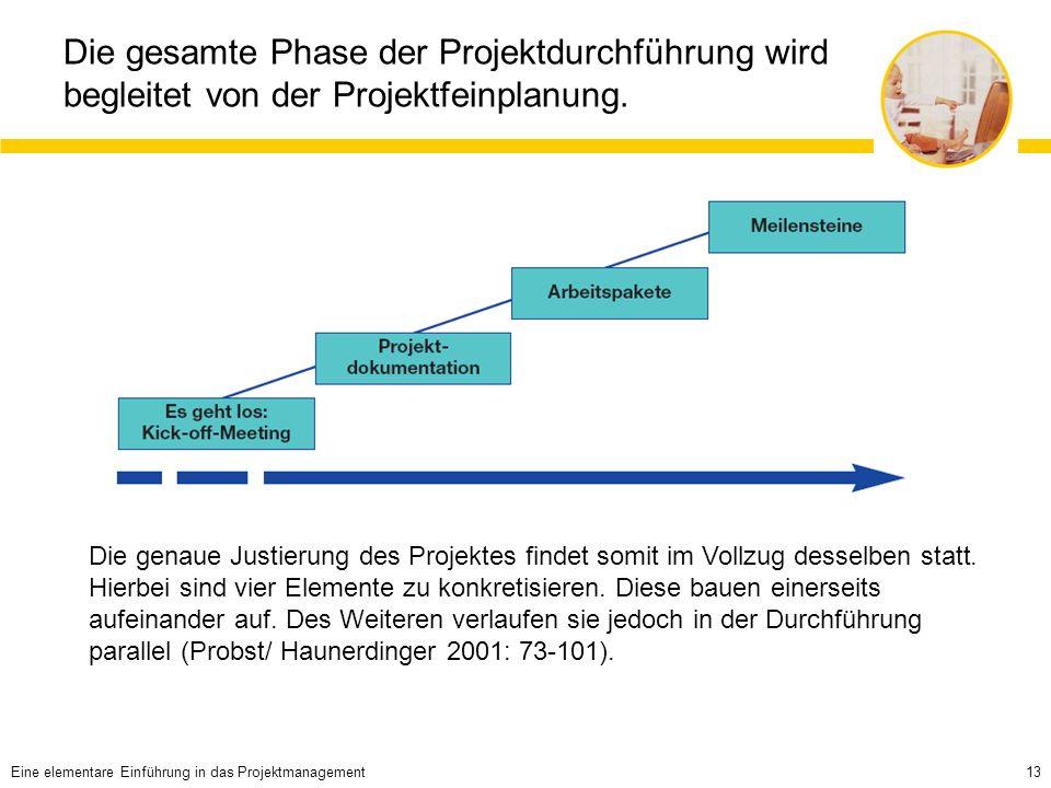 Die gesamte Phase der Projektdurchführung wird begleitet von der Projektfeinplanung.