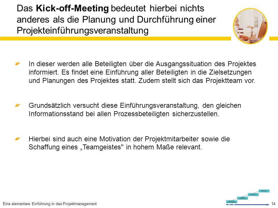 Das Kick-off-Meeting bedeutet hierbei nichts anderes als die Planung und Durchführung einer Projekteinführungsveranstaltung