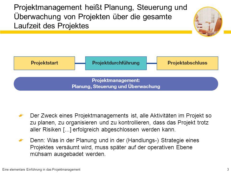 Projektmanagement heißt Planung, Steuerung und Überwachung von Projekten über die gesamte Laufzeit des Projektes