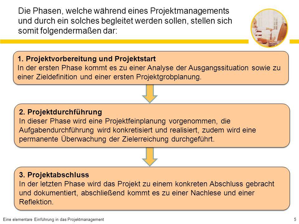 Die Phasen, welche während eines Projektmanagements und durch ein solches begleitet werden sollen, stellen sich somit folgendermaßen dar: