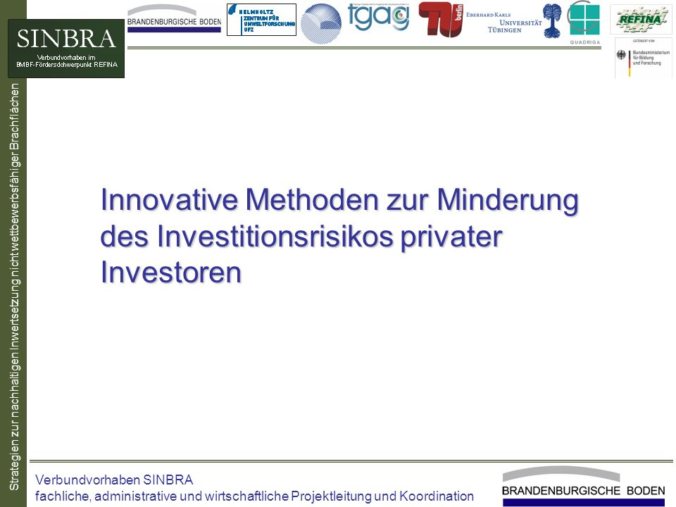 Innovative Methoden zur Minderung des Investitionsrisikos privater Investoren