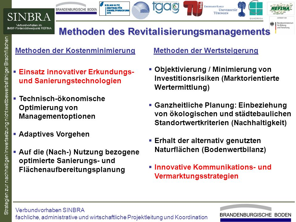 Methoden des Revitalisierungsmanagements