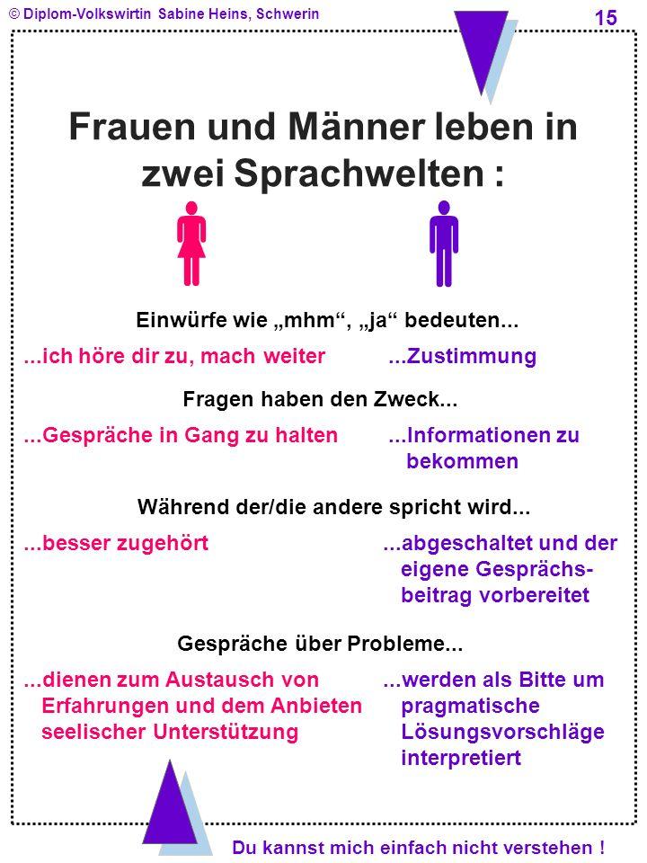   Frauen und Männer leben in zwei Sprachwelten :
