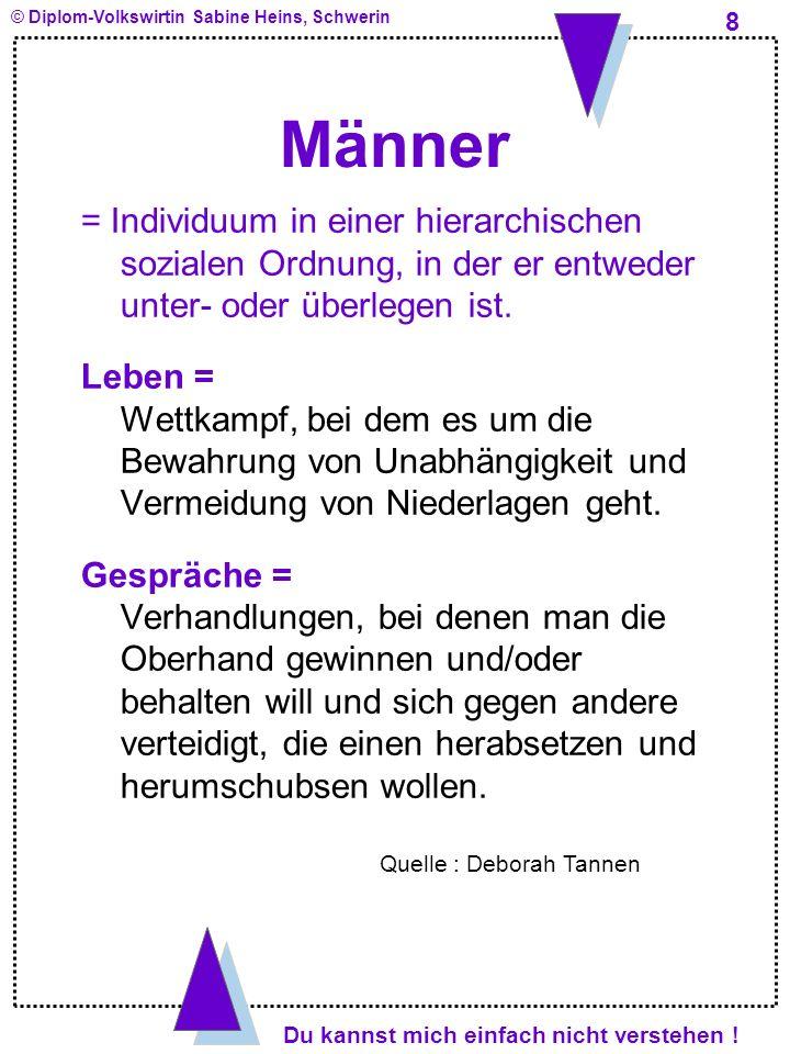 Männer = Individuum in einer hierarchischen sozialen Ordnung, in der er entweder unter- oder überlegen ist.