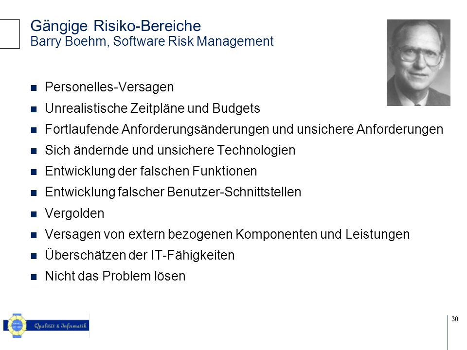 Gängige Risiko-Bereiche Barry Boehm, Software Risk Management