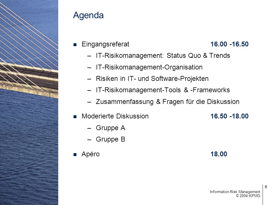 Agenda Eingangsreferat 16.00 -16.50