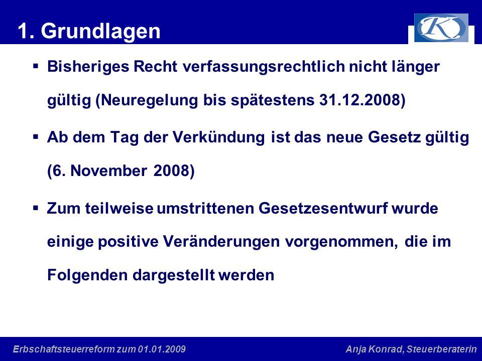 1. Grundlagen Bisheriges Recht verfassungsrechtlich nicht länger gültig (Neuregelung bis spätestens 31.12.2008)