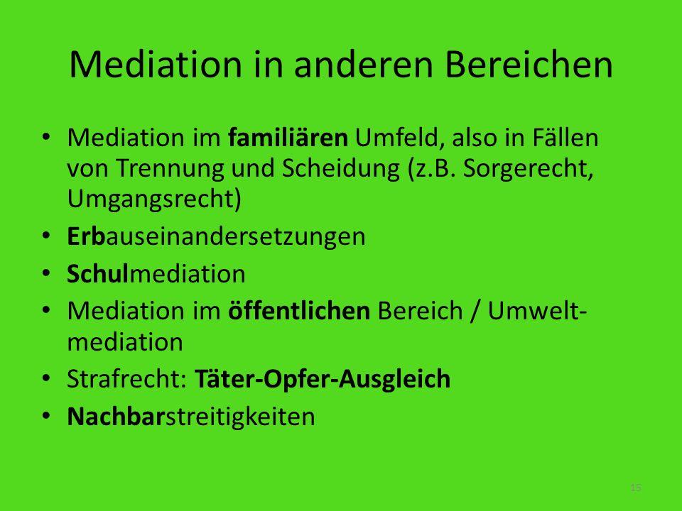 Mediation in anderen Bereichen