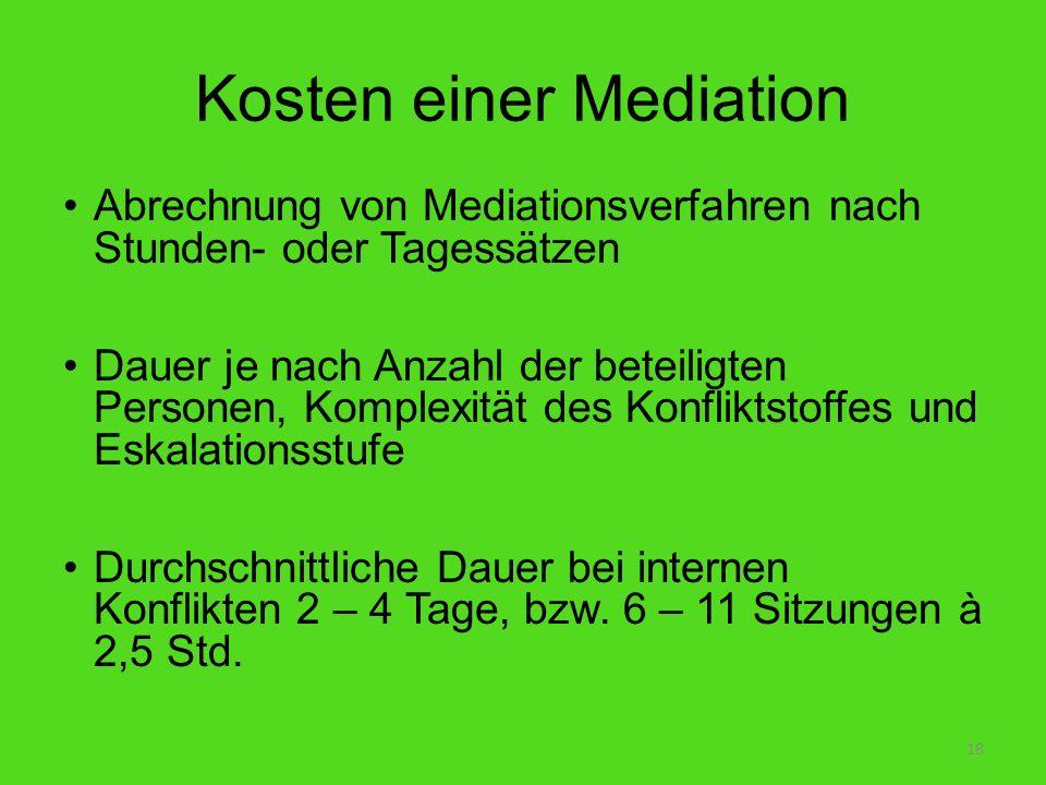 Kosten einer Mediation