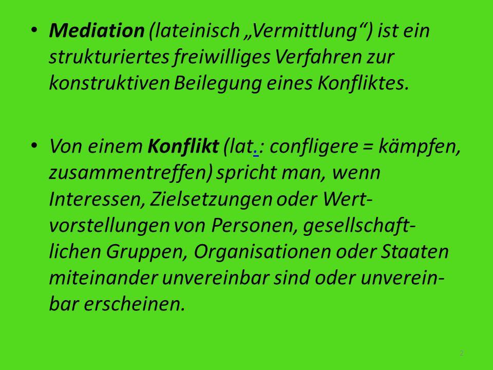 """Mediation (lateinisch """"Vermittlung ) ist ein strukturiertes freiwilliges Verfahren zur konstruktiven Beilegung eines Konfliktes."""