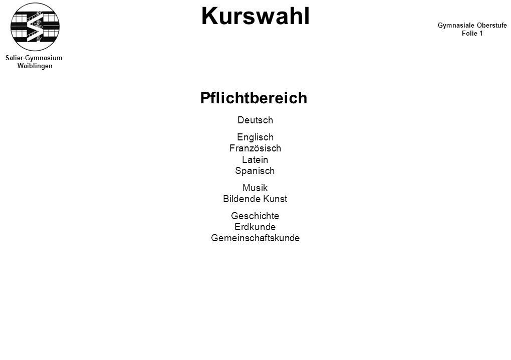 Kurswahl Pflichtbereich Deutsch Englisch Französisch Latein Spanisch