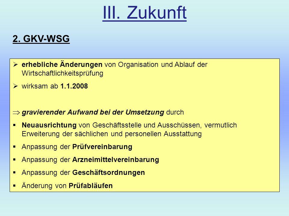 III. Zukunft 2. GKV-WSG. erhebliche Änderungen von Organisation und Ablauf der Wirtschaftlichkeitsprüfung.
