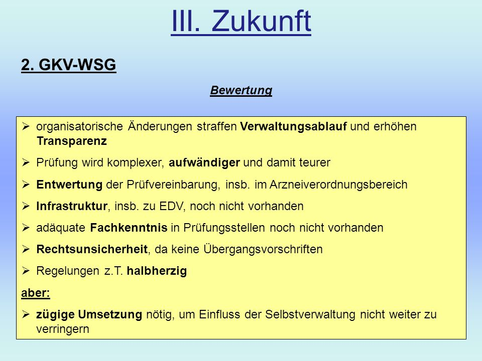 III. Zukunft 2. GKV-WSG Bewertung