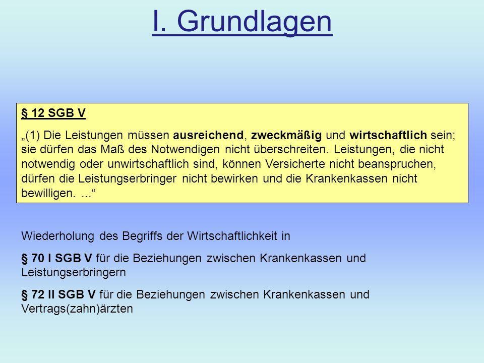 I. Grundlagen § 12 SGB V.