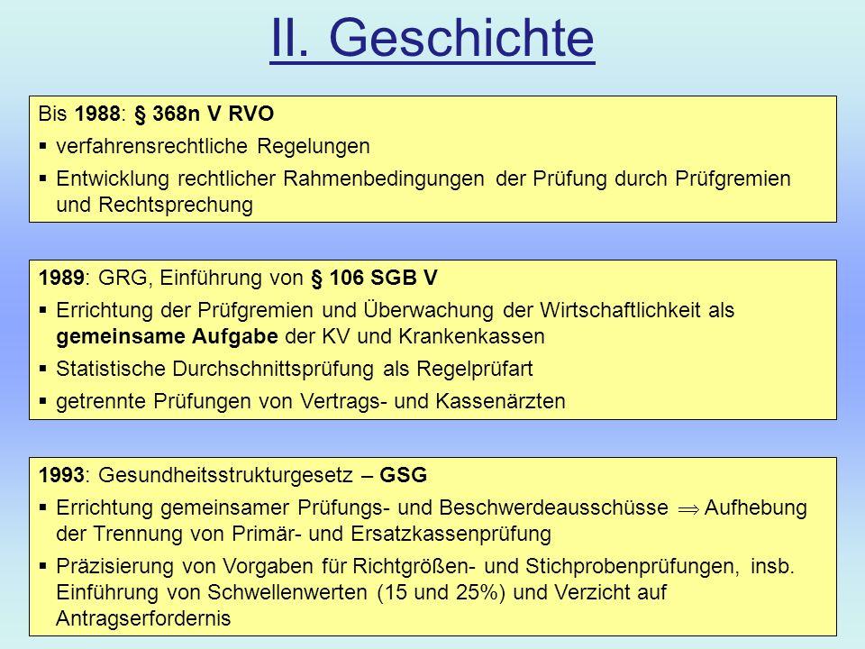 II. Geschichte Bis 1988: § 368n V RVO verfahrensrechtliche Regelungen