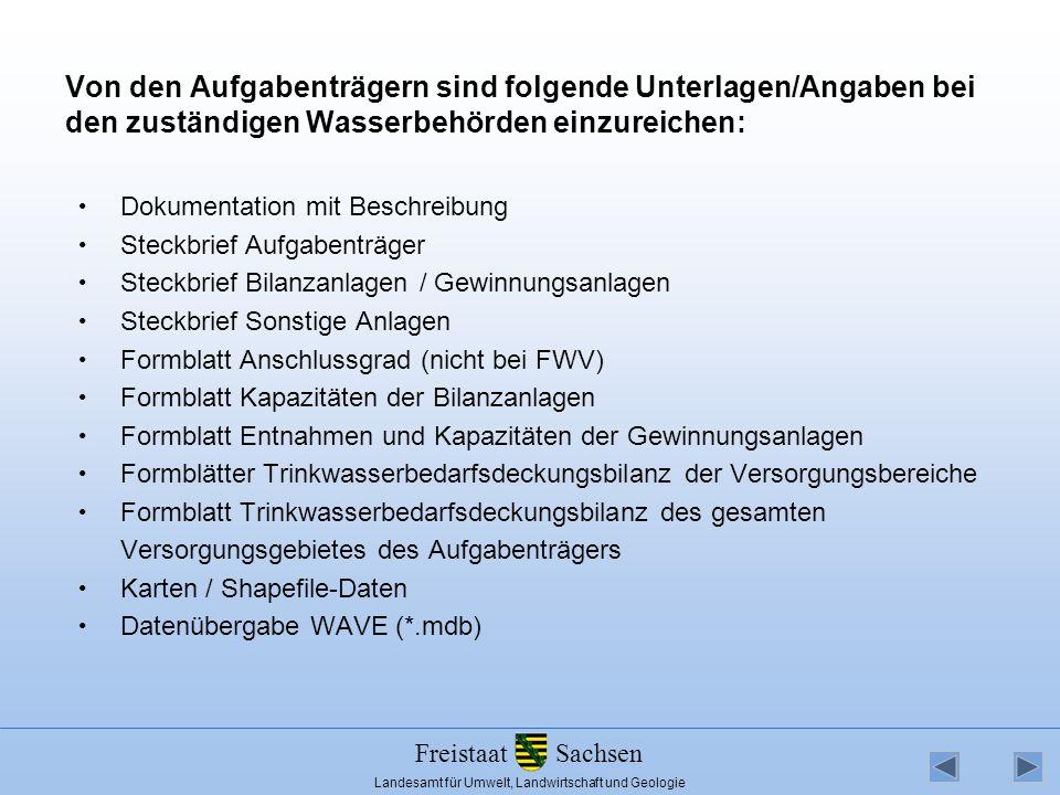 Von den Aufgabenträgern sind folgende Unterlagen/Angaben bei den zuständigen Wasserbehörden einzureichen:
