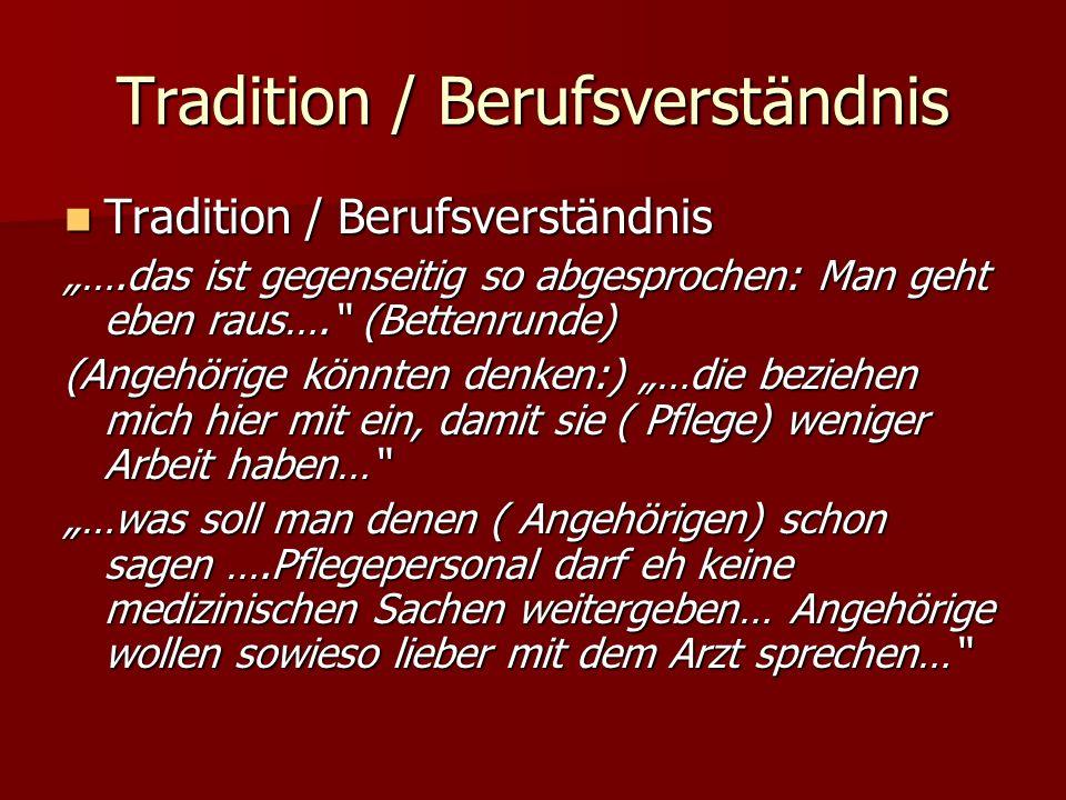 Tradition / Berufsverständnis