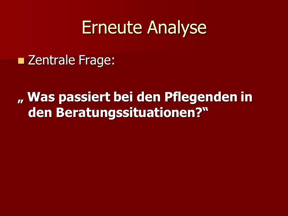 Erneute Analyse Zentrale Frage: