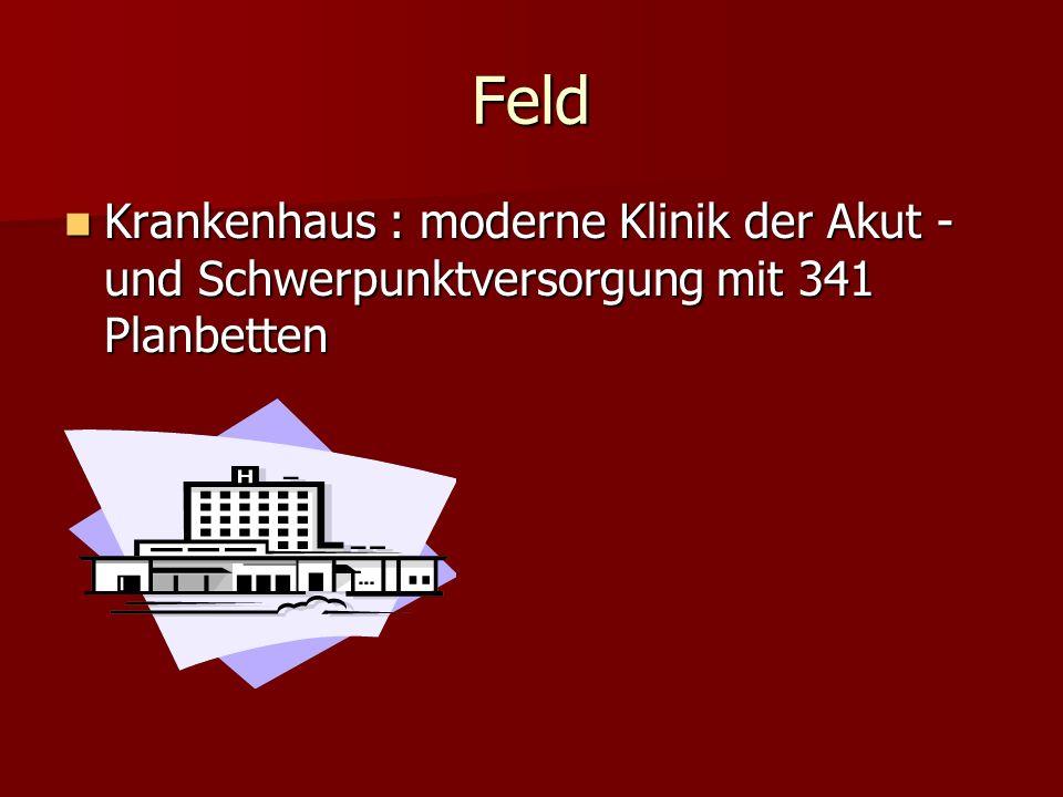 Feld Krankenhaus : moderne Klinik der Akut -und Schwerpunktversorgung mit 341 Planbetten